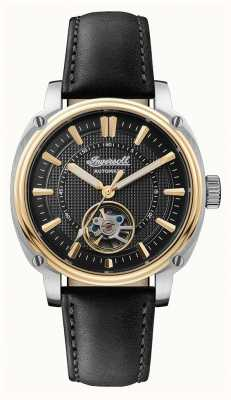 Ingersoll | le directeur automatique | bracelet en cuir noir | cadran noir I08102