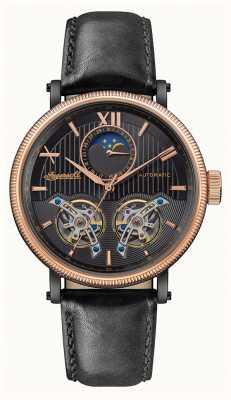Ingersoll | le hollywood automatique | bracelet en cuir noir | cadran noir I09601