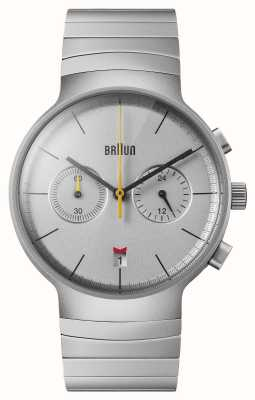 Braun Chrono homme | cadran argenté | bracelet en acier inoxydable BN0265SLBTG