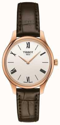 Tissot Tradition des femmes | bracelet en cuir marron | cadran argenté T0632093603800