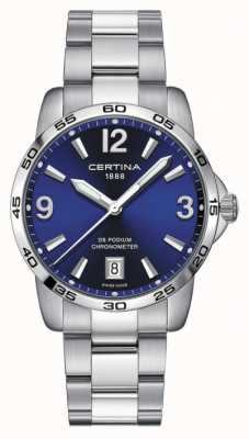 Certina Mens ds podium | chronomètre | 40mm | cadran bleu | C0344511104700