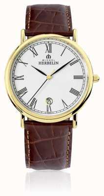 Michel Herbelin Bracelet en cuir marron classique pour homme 12248/P01MA