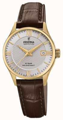 Festina | fabrication suisse pour femmes | bracelet en cuir marron | cadran argenté | F20011/2