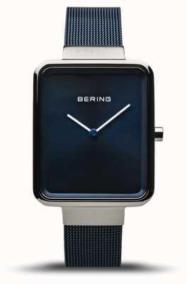 Bering Classique | argent poli / brossé | sangle en maille bleue | 14528-307