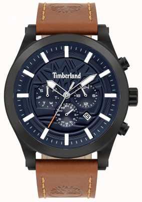 Timberland Bon sens de la rue | bracelet en cuir marron | cadran bleu | 15661JSB/03