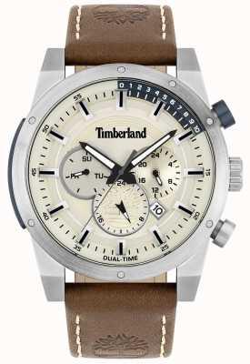 Timberland Chercheur extérieur | bracelet en cuir marron | cadran argenté | 15951JS/04