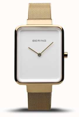 Bering Classique femme | maille dorée polie / brossée | cadran blanc | 14528-334