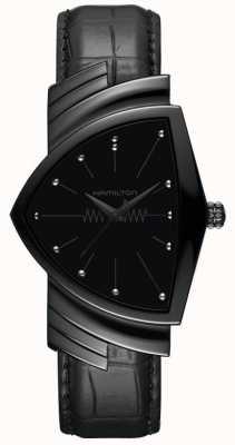 Hamilton Ventura   bracelet en cuir noir pour homme   cadran noir   H24401731