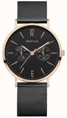 Bering Classique femme | bracelet en maille noire | cadran noir | 14236-163