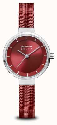 Bering Solaire | argent poli | bracelet en maille rouge | cadran rouge | 14627-303