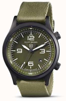 Elliot Brown Hommes | canford | cadran vert | bracelet en tissu vert 202-024-N08