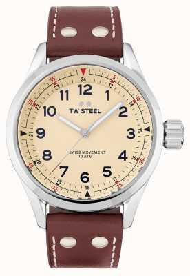 TW Steel | hommes | volante suisse | cadran crème | bracelet en cuir marron | SVS101