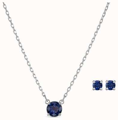 Swarovski | attirer ensemble rond | collier et boucles d'oreilles bleu | 5536554