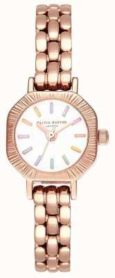 Olivia Burton   bracelet en or rose pâle arc-en-ciel   cadran blanc   OB16CC50