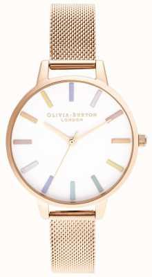 Olivia Burton | femmes | arc-en-ciel | bracelet en maille en or rose | OB16RB24