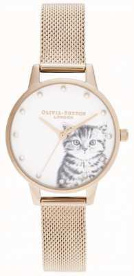 Olivia Burton Chaton nacré illustré en or rose OB16WL88