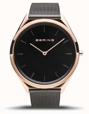Bering | unisexe | ultra-mince | bracelet en maille noire | 17039-166