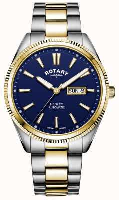 Rotary Henley pour hommes | bracelet en acier inoxydable bicolore | cadran bleu GB05381/05