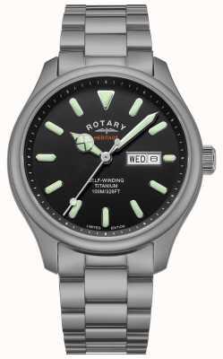 Rotary Henley pour hommes | bracelet en titane | cadran noir | GB05249/04