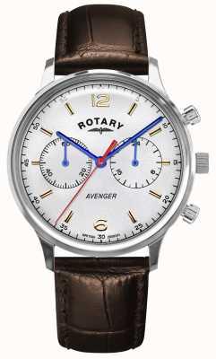 Rotary Vengeur pour hommes | bracelet en cuir marron | cadran argenté GS05203/70