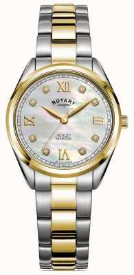 Rotary Henley pour femmes | cadran serti de diamants | bracelet bicolore | LB05111/41/D