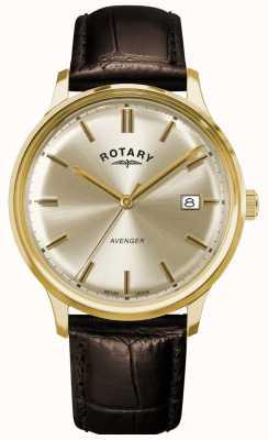 Rotary Vengeur pour hommes | bracelet en cuir marron | cadran champagne GS05403/03