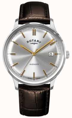 Rotary Vengeur pour hommes | bracelet en cuir marron | cadran argenté | GS05400/06