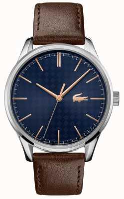 Lacoste Vienne pour hommes | bracelet en cuir marron | cadran bleu 2011046
