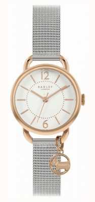 Radley | bracelet maille argent femme | cadran blanc | charme de chien RY4527