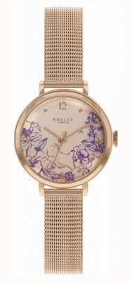 Radley | bracelet maille en or rose pour femme | cadran imprimé floral RY4524