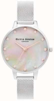 Olivia Burton | cadran demi-vadrouille avec détail de vis | bracelet en maille d'argent | OB16SE07