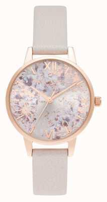 Olivia Burton Cadran floral abstrait rose perle et or rose midi OB16VM47