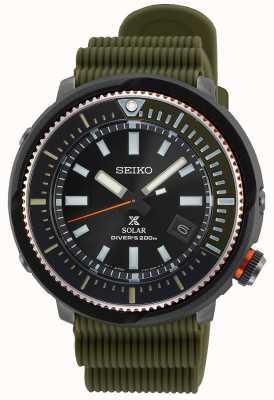Seiko Prospex gents solaire | bracelet en silicone kaki | cadran noir SNE547P1