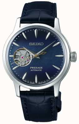 Seiko | présage dames mécanique | cuir de veau bleu | cadran bleu SSA785J1
