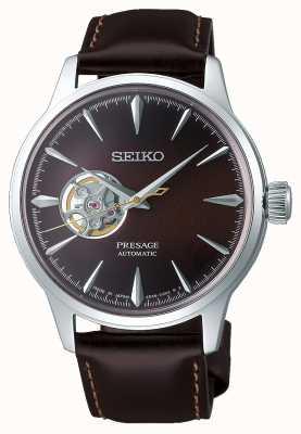 Seiko Presage hommes mécaniques | bracelet en cuir de veau marron | SSA407J1