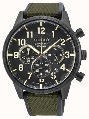 Seiko | quartz hommes conceptuels | bracelet vert militaire | cadran noir SSB369P1