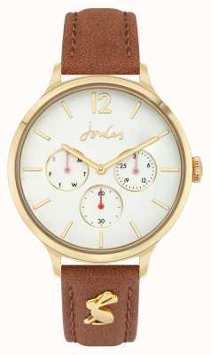 Joules Femmes | bracelet en cuir marron | cadran blanc JSL001T