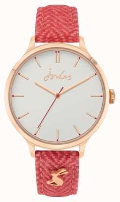 Joules Femmes | tissu rouge / bracelet en cuir | cadran blanc cassé JSL014CRG