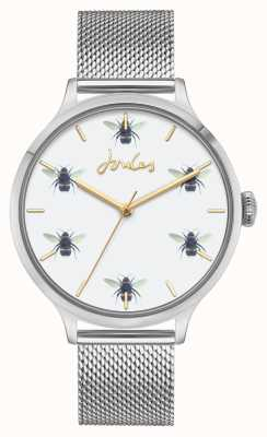 Joules Femmes | maille en acier inoxydable | cadran abeille blanche JSL030SM