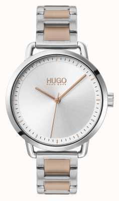 HUGO #mellow | bracelet en acier bicolore | cadran argenté | 1540057