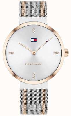 Tommy Hilfiger Liberté | bracelet en maille bicolore | cadran blanc | 1782221