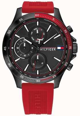 Tommy Hilfiger Banque | bracelet en silicone rouge | cadran noir | 1791722