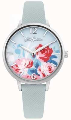 Cath Kidston Bracelet en cuir bleu clair pour femme | cadran fleuri CKL097US