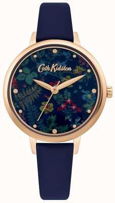 Cath Kidston Cadran imprimé floral pour femme | bracelet en cuir bleu marine CKL096URG