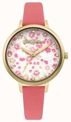 Cath Kidston Cadran imprimé floral pour femme   bracelet en cuir corail CKL096PG