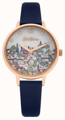 Cath Kidston | bracelet en cuir bleu marine pour femme | cadran champagne imprimé | CKL083URG