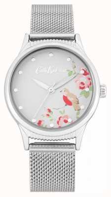 Cath Kidston Bracelet en maille argentée | cadran imprimé floral blanc CKL091SM