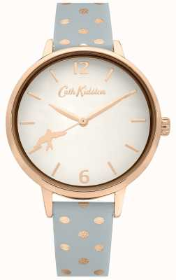 Cath Kidston Bracelet en cuir gris à pois | cadran blanc | CKL088E