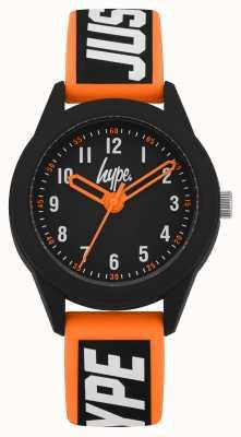 Hype | bracelet en silicone orange / noir | cadran noir | HYK004OB