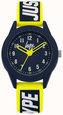 Hype | bracelet en silicone jaune / bleu | cadran bleu marine | HYK004YU
